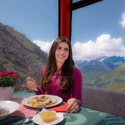 Enjoying dessert up in lofty heights at the Grossglockner hiking resort.